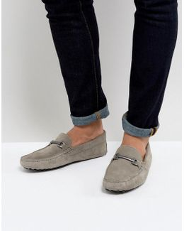 Driving Shoes In Grey Suede With Snaffle