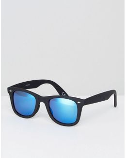 Square Sunglasses In Matte Black With Blue Mirror Lens