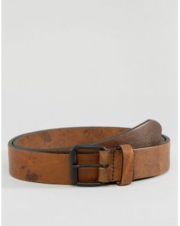 Slim Tan Leather Belt With Vintage Finish & Contrast Stitching