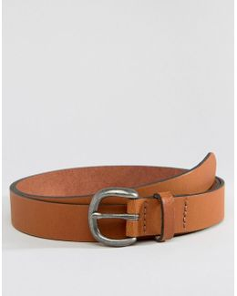 Slim Leather Belt In Tan With Distressed Round Buckle