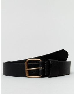 Slim Belt In Faux Leather With Contrast Copper Buckle