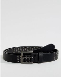 Slim Belt In Faux Leather With Shiny Studding