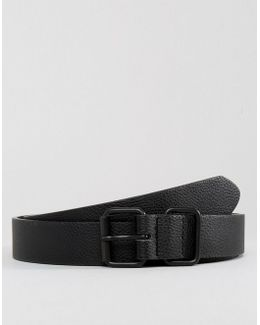 Smart Slim Belt In Pebble Grain Faux Leather & Coated Trims