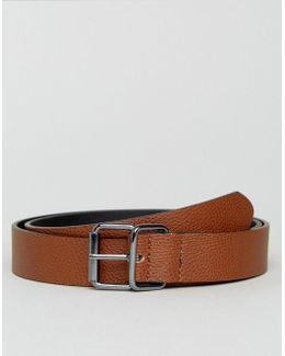 Smart Slim Belt In Pebble Grain Faux Leather & Gunmetal Trims