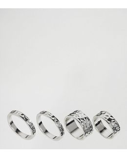 Exclusive Pack Of 4 Hammered Ring Pack