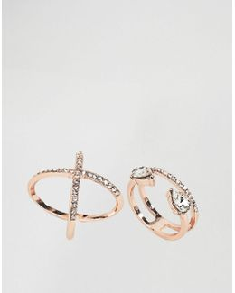 Pack Of 2 Fine Crystal Kiss Ring Pack