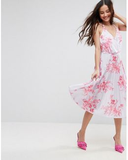 Bright Floral Pleated Crepe Midi Dress