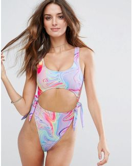 Colorful Marble Print Tie Side High Leg Swimsuit