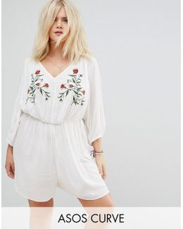 Beach Playsuit With Floral Embroidery