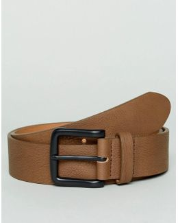 Wide Belt In Brown Faux Leather With Black Coated Buckle