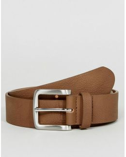 Wide Belt In Brown Faux Leather With Burnished Silver Buckle