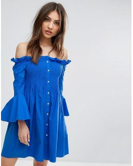 Bardot Ruffle Shirt Dress