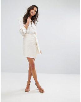 Frayed Hem Lace Up Skirt
