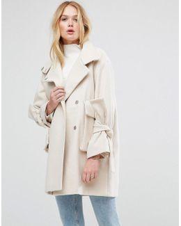 Oversized Coat With Bow Sleeve