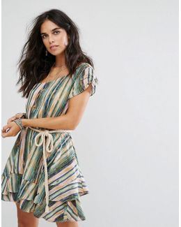 Heart Shaped Face One Shoulder Layered Mini Dress