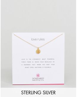Gold Plated Love Rules Warm Heart Reminder Necklace
