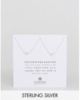 Sterling Silver Mother And Daughter Set Of 2 Pearl Reminder Necklace