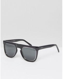 Bennet Flat Brow Sunglasses In Black