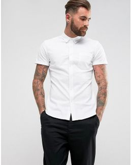 Casual Slim Oxford In White With Short Sleeves