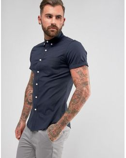 Casual Slim Oxford In Navy With Short Sleeves