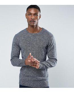 Tall Melange Fleck Knitted Sweater