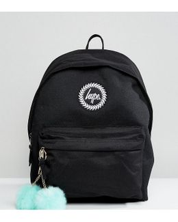 Exclusive Backpack In Black With Teal Pom