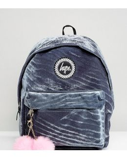 Exclusive Grey Velvet Backpack With Pink Pom