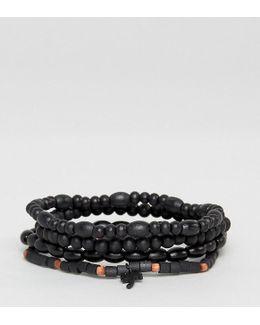 Palm Tree Beaded Bracelets In 3 Pack