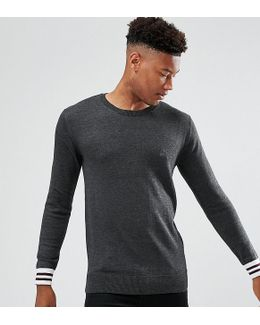 Tall Crew Neck Knitted Jumper With Contrast Cuff