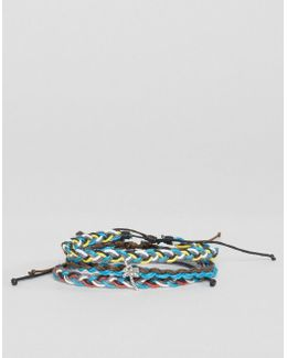 Palm Tree Wax Cord Bracelets In 3 Pack