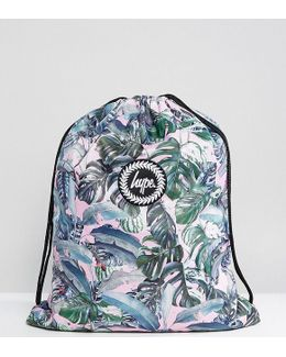 Exclusive Pastel Garden Palm Print Drawstring Backpack