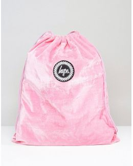 Exclusive Pink Velvet Drawstring Backpack