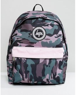 Camo Print Backpack With Contrast Pocket
