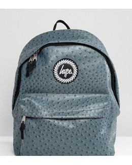 Exclusive Charcoal Grey Faux Ostrich Backpack