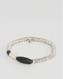 Disc Beaded Bracelet In Silver