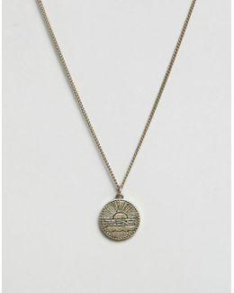 Disc Pendant Necklace In Antique Gold