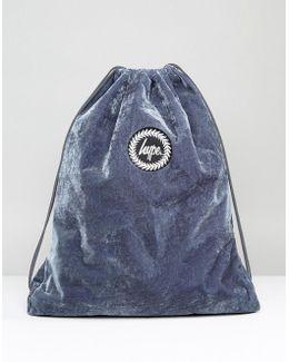 Gray Velvet Drawstring Backpack