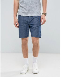 Denim Shorts In Slim Light Wash Blue With Utility Detailing