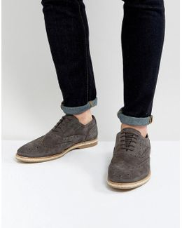Derby Shoes In Grey Suede With Brogue Detail