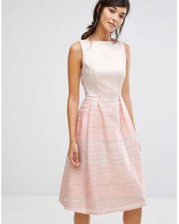 Organza Stripe Midi Skater Dress