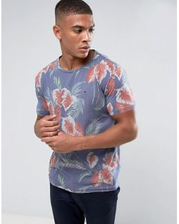 Tommy T-shirt Floral Print Regular Fit In Blue