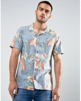 Tommy Shirt Short Sleeve Floral Print Regular Fit In Blue