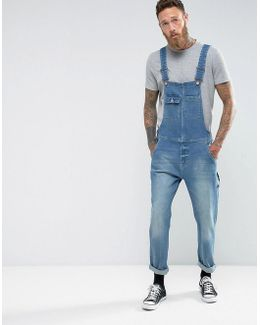 Denim Dungarees In Vintage Mid Wash Blue With Work Wear Styling