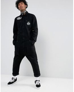 Denim Boiler Suit In Black With Patches And Print
