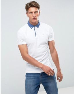 Tommy Polo Contrast Buttondown Collar In White
