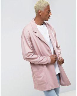 Oversized Longline Jersey Duster Coat In Pink
