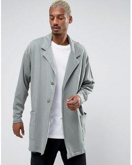 Oversized Longline Jersey Duster Coat In Green