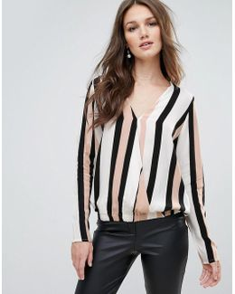 Stripe Wrap Front Blouse