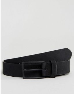 Smart Slim Belt In Black Faux Suede