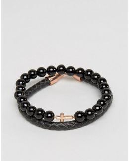 Bracelet Pack In Leather And Onyx